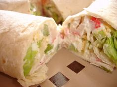 """Crab Salad Tortilla Wraps * Subway Copycat from Food.com: The kids told me this was definitely a """"keeper"""" of a recipe. The hard-boiled egg really adds some depth to the flavor. Add your own flavorites to accommodate your family's tastebuds."""