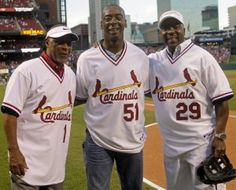 Ozzie Smith, Willie McGee, and Vince Coleman. all-time favorite Redbirds. St Louis Baseball, St Louis Cardinals Baseball, Stl Cardinals, Cardinals Players, Better Baseball, National League, Baseball Players, A Team, St Louis Cardinals