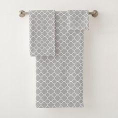 Quatrefoil Pattern Bath Towel Set - monogram gifts unique custom diy personalize