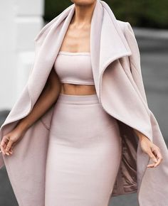Coat: jacket sweater outfit clothes skirt top pumps heels nude crop tops style fashion all nude