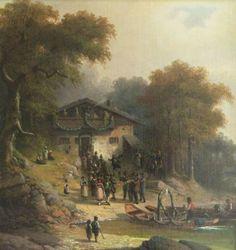 Tirol, um 1900, Bauernhochzeit, Öl/Lwd (aufgez. Holzplatte), 60 x 57 cm.