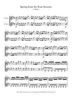 Vivaldi - Spring from The Four Seasons 1. Allegro sheet music for Violin Duet - 8notes.com
