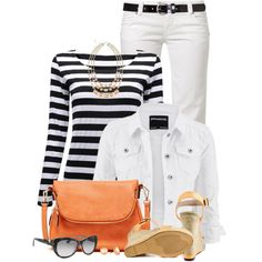 Black & White with a Pop of Orange by brendariley-1 on Polyvore featuring mode, maurices, MET, Michael Antonio, Moda Luxe, Love Struck, Valentino and Dotti