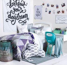 Purple, teal, and white dorm room decor. Dorm Room Decorating Ideas + Dorm Essentials for Back to School