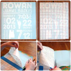 DIY Newborn Stats Canvas with a footprint. Made with craft paint, spray paint, and a vinyl design created with a Silhouette Cameo. Silhouette Cameo 2, Silhouette Cameo Projects, Rowan, Newborn Crafts, Baby Diy Projects, Vinyl Lettering, Vinyl Designs, Craft Tutorials, Craft Ideas