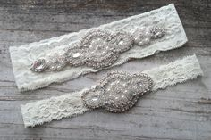Rhinestone and Pearl Bridal Garter Set by MissBettyLou on Etsy, $48.00