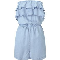 Miss Selfridge Denim Frill Playsuit ($47) ❤ liked on Polyvore featuring jumpsuits, rompers, denim, women, denim rompers, blue romper, ruffle romper, blue rompers and ruffle rompers