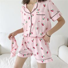 [Po] korean fresh sweet two piece pajamas set cartoon aesthetic, women's fashion, clothes, others on carousell Cute Pajama Sets, Cute Pajamas, Pajamas Women, Pretty Outfits, Cute Outfits, Summer Outfits, Ropa Interior Babydoll, Cute Sleepwear, Pajama Outfits