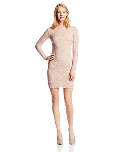 Jump Juniors Short Stretch Lace Dress with Sexy Low Back, Blush, Large