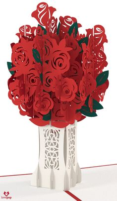 Gift a paper art bouquet of roses in a pop up card this Valentine's Day. #love #betterthanflowers