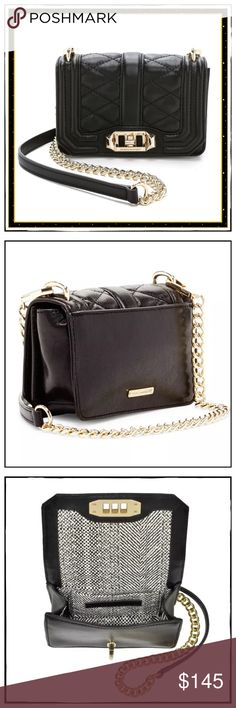 """✨Rebecca Minkoff Mini Love Cross Body Bag✨ ✨The Rebecca Minkoff Mini Love Quilted Cross Body Is A Perfect Wardrobe Staple Piece✨Classic And Compact, Yet Roomy Enough To Hold Your Staples And Stuff✨Approx 6.5""""L X 4""""H X 2"""" D With A 22.5"""" Adjustable And Removable Strap Drop✨This Bag Is Great Because It Has The Classic Chain Strap But Sits Comfortably On Your Shoulder With The Leather Piece Between✨Black Quilted Leather With Gold Hardware And Lock Closure✨Matching Dust Bag Included✨NWT✨ Rebecca…"""