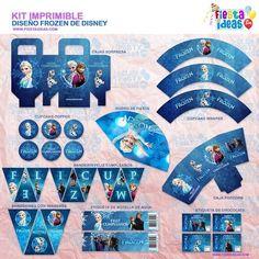 Hemos creado para ti un nuevo diseño del Kit imprimible Frozen espectacular para decorar tu fiesta de cumpleaños podrás descargarla e imprimirlo tu misma