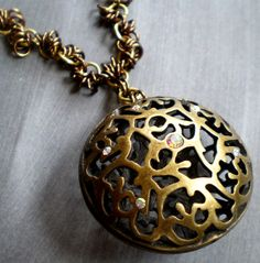 Marrakesh Ornate Brass Pendant Chainmaille by marokel on Etsy, $28.00