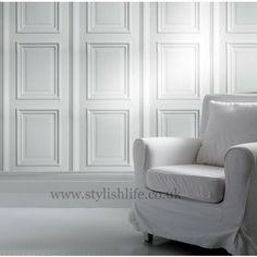 Young & Bataglia   Georgian White Panelling Wallpaper
