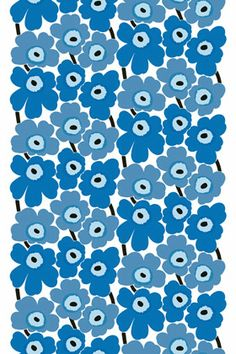 Marimekko Pieni Unikko Blue Cotton Fabric Since Maija Isola's Marimekko Unikko pattern has been cheering interiors and clothing. In a classic blue colorway and a Pieni (small) scale, this cotton fabric still printed in Finland offer. Textile Patterns, Textile Design, Fabric Design, Pattern Design, Fabric Wall Art, Fabric Painting, Pretty Patterns, Flower Patterns, Blue Patterns