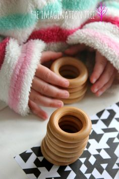 DIY wooden rings stacking toy for babies and toddlers