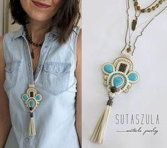 Boho chic necklace Soutache Necklace, beige necklace turquoise necklace gioielli Hippie necklace Gypsy Necklace Bohemian stone necklace