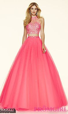 Two Piece High Neck Ball Gown Style Prom Dress by Mori Lee at PromGirl.com
