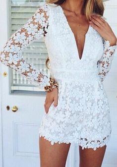 White Plain Hollow-out Lace Plunging Neckline Long Sleeve Short Jumpsuit