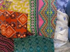 Fabric samples showing print and colour