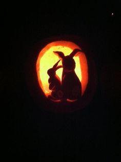Halloween pumpkin with Rabbit cut outs. Halloween Pumpkin Carving Stencils, Easy Pumpkin Carving, Pumpkin Carving Patterns, Halloween Pumpkins, Pumpkin Carvings, Halloween Projects, Halloween Diy, Halloween Decorations, Rabbit Halloween