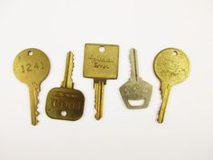 Five Hotel Room Keys  Hang on a Wall  Vintage 1960s by RetroMama65