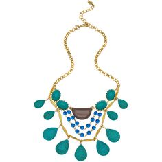 David Aubrey Max and Chloe Turquoise Necklace (¥11,350) ❤ liked on Polyvore featuring jewelry, necklaces, blue chain necklace, turquoise jewellery, chain jewelry, bead chain necklace and blue jewelry