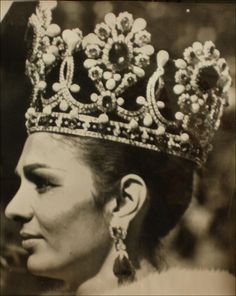 Empress Farah Pahlavi, of Iran. I would love to know what the stones are in her crown. That looks like a beautiful headache.