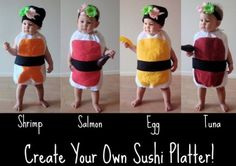 These sushi baby costumes are good enough to eat at a costume party. The wasabi/ginger headband accent is the sweetest part of this ensemble.