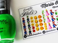 Super Mario and Luigi - Nail Decals  These adorable Nail Decals can also be used as a Party Favor or Gift item for a Super Mario / Luigi / Princess Peach Birthday Party. Nail Designs / Nail Art / Nail Art Ideas / Nail Decals DIY / Nail Decorations Ideas / Kids Nails / Kids Nail Art / Kid Nail Designs