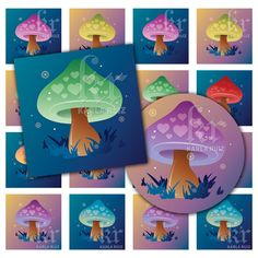 Fantasy Twilight Mushrooms, printable image sheet for DIY crafts, jewelry, paper crafts or scrapbooking projects. Buy 3 get one FREE! Item No. dc33249839 by KarlaRuizDesigns