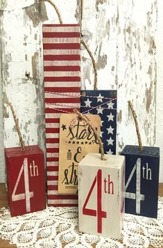 Fourth of July Wood Firecrackers - Primitive Decor - Rustic Home Decor American Flag - Americana - Summer Decorations for Fireplace Mantel : Fourth of July Decor Fourth of July Decorations Fire Americana Crafts, Patriotic Crafts, July Crafts, Summer Crafts, Holiday Crafts, Patriotic Party, Americana Home Decor, Patriotic Wreath, Fourth Of July Decor