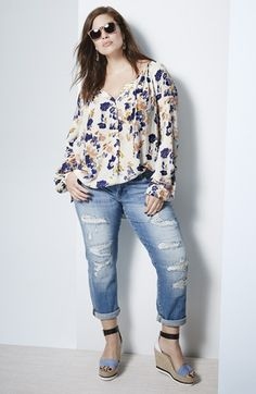 Plus Size Fashion - Plus Size Top and Jeans
