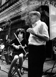 Shirley MacLaine and director Billy Wilder on set of Irma La Douce, by Leo Fuchs, Leo, Classic Hollywood, Old Hollywood, Billy Wilder, Shirley Maclaine, Actor Studio, Film Images, Great Films, Movie Photo