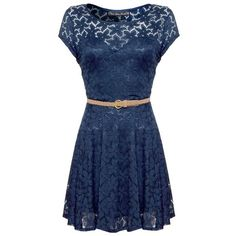 Mela Lace capped sleeve belted dress (47 CAD) found on Polyvore featuring women's fashion, dresses, vestidos, robes, blue, navy, lace dress with belt, blue dress, dresses with belts and navy lace dress