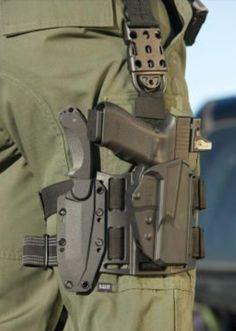 Drop leg holster combo w/ kydex sheath