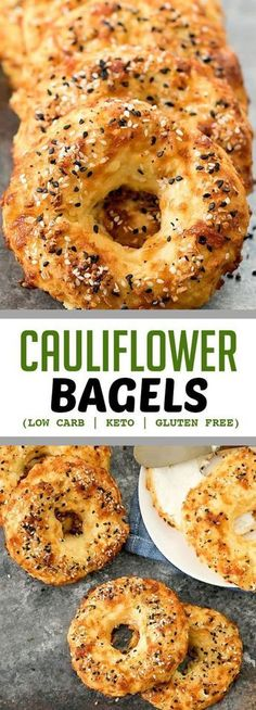 Crusty, chewy bagels made with cauliflower! These taste like… Cauliflower Bagels. Crusty, chewy bagels made with cauliflower! These taste like cheesy bagels and they are also low carb, keto, gluten free and wheat flour free. Low Carb Bread, Low Carb Keto, Keto Bread, Low Carb Bagels, Gluten Free Bagels, Keto Bagels, Gluten Free Snacks, Gluten Free Breakfasts, Gluten Free Diet