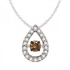 Allurez 14kt Rose Gold Bead Brown Diamond Necklace UrYGHu