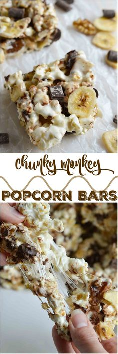 Movie night just got even better with these Chunky Monkey Popcorn Bars! Popcorn marshmallow bars filled with chocolate chunks, banana chips and walnuts. This dessert snack recipe will be a fun family treat! ad Shared by Career Path Design. Popcorn Bar, Gourmet Popcorn, Popcorn Snacks, Just Desserts, Delicious Desserts, Yummy Food, Snack Recipes, Dessert Recipes, Cooking Recipes
