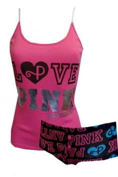 2e5cf53700d57 LOVE PINK Panther Hot Pink Shortie Pajama