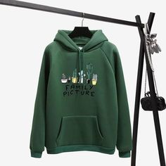 Winter Coat Loose Thick Hoodies Women Sweatshirt Kawaii Cactus Family Picture Harajuku Pullover Office Lady Feminino Clothes Size S Color Thick Hoodies, Only Fashion, Style Fashion, Fashion Wear, Curvy Fashion, Teen Fashion, Fashion Trends, Boutique, Casual Tops
