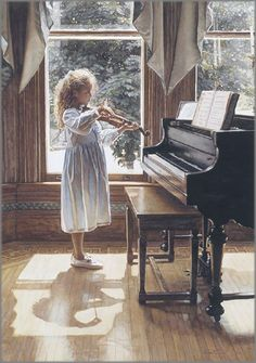 This one is just precious! It is by Steve Hanks - Beginning ($25).  #art #children #music