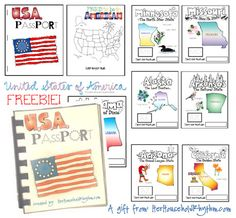 USA Passport Activity Booklet.  On the back of the pages we are going to write more information about each state.