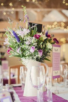 A Relaxed and Rural Lavender Celebration... Jugs available from www.theweddingofmydreams.co.uk