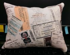 Ticket stubs pillow using iron on transfer paper