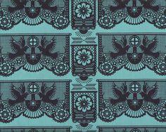Patchworkstoff PRETTY POTENT, Tauben als Scherenschnitt, marineblau-gedecktes türkis