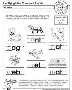 Identifying Initial Consonant Sounds: Missing Letters - Free English Worksheet for Kids