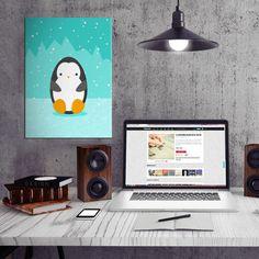 #penguin #cute #cartoon #vector digital #blue ice snow #winter #animals birds illustration teal Comic