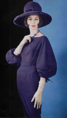1960 Jacques Griffe vintage fashion style designer color photo print ad model magazine sheath dress navy blue black puff sleeves wiggle hat