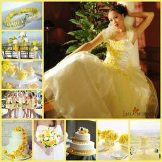 Yellow & White Wedding Yellow White Wedding, Yellow Theme, One Shoulder Wedding Dress, Colour, Wedding Dresses, Fashion, Color, Bridal Dresses, Moda